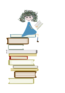 Girl sitting atop a pile of books. The Day We Rode the Rainbow Discussion questions for kids download page